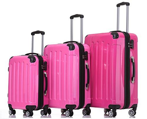 BEIBYE- 3er Kofferset Hartschalen-Koffer Reisekoffer Trolley Rollkoffer Set Reisekofferset (Pink)
