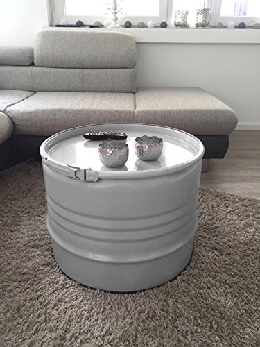 Fassmöbel Beistelltisch Ölfass Tisch Fass Design Möbel Couchtisch mit Spannring Grau# Ø 57cm