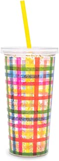 Ban.do Metallic Deluxe Sip Sip Insulated Tumbler With Reusable Silicone Straw, 20 Ounces, Block Party (glitter bomb)