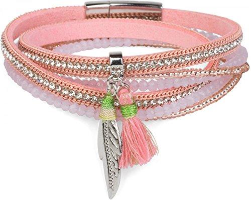 styleBREAKER Wickelarmband mit Strass und Feder Anhänger mit Quaste, Perlen, Kette, Magnetverschluss Armband, Damen 05040062, Farbe:Rosa