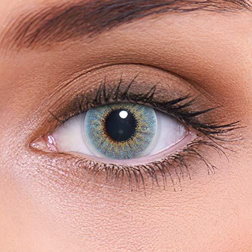 LENZOTICA Sehr stark natürlich deckende blaue Kontaktlinsen farbig MARBLE BLUE + Behälter von LENZOTICA I 1 Paar (2 Stück) I DIA 14.00 I ohne Stärke I 0.00 Dioptrien