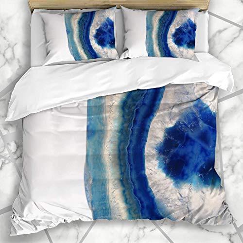 Conjuntos de funda nórdica Agathe Detalle mineral Color azul Gema preciosa Ágata Aislada Rebanada Piedra Detalles Patrón Objetos Microfibra suave Dormitorio decorativo con 2 fundas de almohada