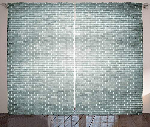 Jieaiuoo Modern Curtains, Grunge Brick Wall Featured Urban Life Construction Architecture Artisan Photo Unity Print, Living Room Bedroom Window Drapes 2 Panel Set,Grey120 inch X 66 inch