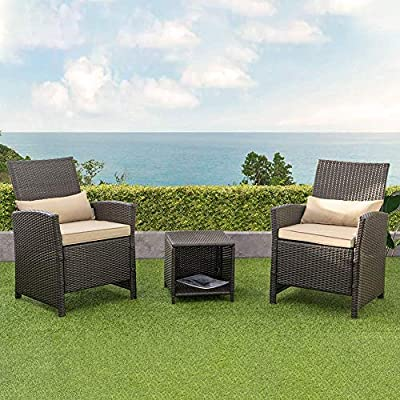Crestlive Products 3 PCS Outdoor Wicker Rattan Bistro Set, Patio Conversation Set with Sofa Chairs and Table, All-Weather Furniture for Garden, Lawn, Pool, Backyard, Porch (Light Yellow)
