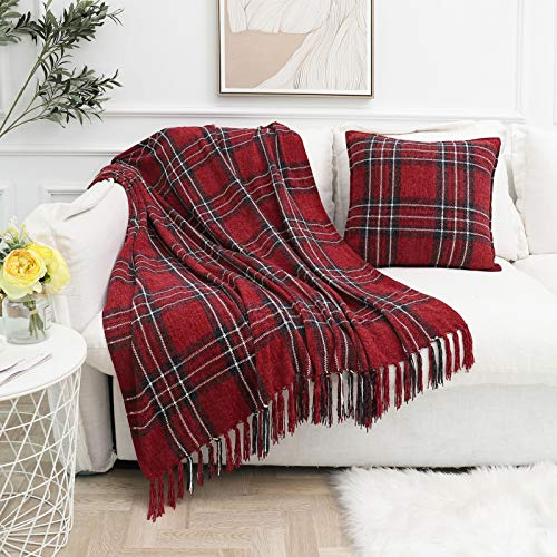 Muse Dream Chenille Fringe Plaid Christmas Blankets and Throws Red Navy Classic Buffalo Plaid for Sofa Couch Bedroom All Season Indoor Outdoor Use,Multi-Colored Red and Navy 50x60
