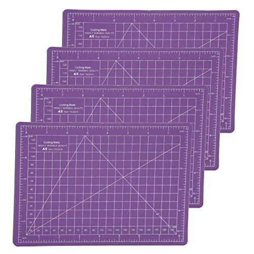 Cortador de tela de 4 piezas, alfombrilla de autocuración púrpura tamaño A5, para evitar que la hoja raye el tablero de escala de grabado de sellos de escritorio