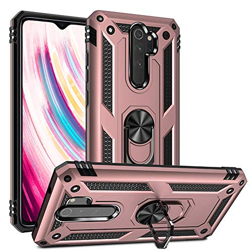 Phone Case for Xiaomi Redmi Note 8 Pro Case with Ring Holder Stand Women Men Slim Friendly Redminote8pro note8procase note8pro Xiami Xiomis Xiome 8pro Redme Note8 Shockproof Back Cover Pink Rose Gold