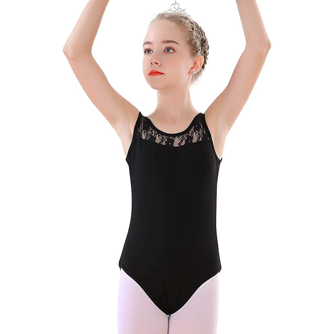 Soudittur Tank Leotards for Girls Ballet Dance Gymnastics Costume with Lace Neckline and Sleeveless