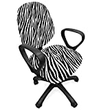 Ambesonne Zebra Print Office Chair Slipcover, Repeating Animal Skin Ornament Jungle Savage Animal Safari Life, Protective Stretch Decorative Fabric Cover, Standard Size, Grey Charcoal