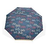 LASINSU Paraguas Resistente a la Intemperie,protección UV,Bocetos de Bicicletas City Race y Girls en Retro sobre Fondo Azul