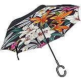 Little Yi Invertido/invertido Hermoso Colorido Morning Glory Paraguas Recto de Doble Capa Bolso autoportante y de Transporte para Manos Libres