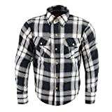 Milwaukee Leather MPM1644 Men's Black and White Armored Long Sleeve Flannel Shirt with Kevlar - Medium