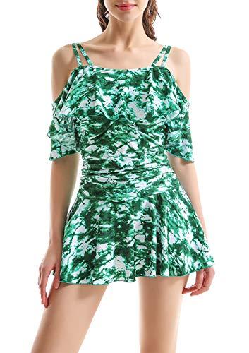COCOPEAR Women's One Piece Flounce Swimsuit Off Shoulder Bathing Suit Tummy Control Swimdress(FBA) Green Leopard L/10-12