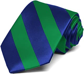 TieMart Boys' Kelly Green and Royal Blue Striped Tie