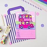 20invitaciones para fiesta de cumpleaños infantil con un autobús de animales de color rosa