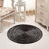 Nicole Knupfer Alfombra hecha a mano trenzada redonda para salón, dormitorio, baño, habitación de los niños, alfombra tatami (negro, 60 x 60 cm)