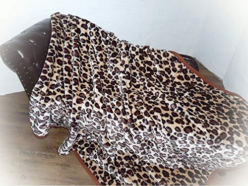 Natur-Fell-Shop Kuscheldecke Tagesdecke Decke Leopard - Design 160x200cm