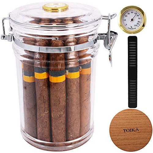 TOIKA Quality Transparent Acrylic Long Cigar Humidor Box,Cigar Tube Jar with Hygrometer, Holding Up to 18 Long Cigars
