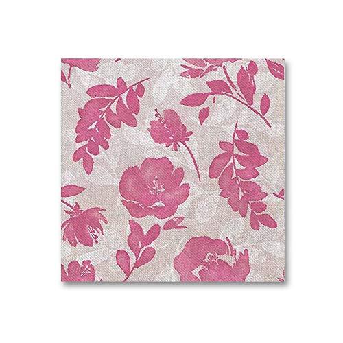 Mono Servilletas de papel con flores TNT/Airlaid de 40 x 40 cm, imitación al tejido, 50 unidades