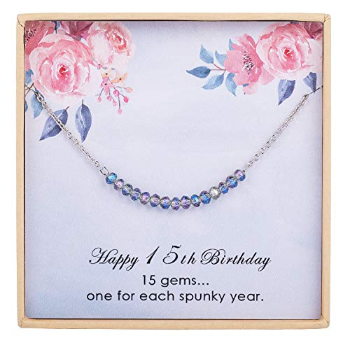 ESSIE ODILA Sweet 15th Birthday Anklet for 15 Year Old Teenage Girls 925 Sterling Silver Ankle Bracelet Crystal Beads Gift for Daughter Niece Sister
