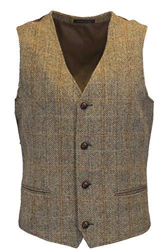 Walker and Hawkes - Chaleco clásico escocés Harris Tweed para Hombre - Punto de Espiga - Disponible en Las Tallas S-5XL - Blanco Arena - EU 50 (UK 40)