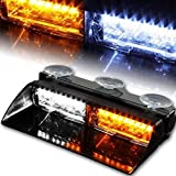 LED Emergency Warning Light XTAUTO 16 LED High Intensity Windshield Hazard Warning Flashing Strobe Law Enforcement Interior Roof Dash Windshield Lamp Lights with Suction Cups for Car Truck Amber White