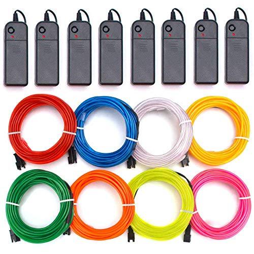Alambre electroluminiscente (EL Wire) 8 X 1 Metros Resplandeciente efecto estroboscópico Neon...