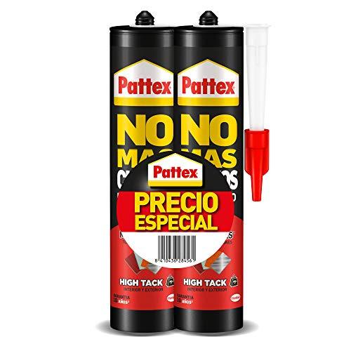 Pattex No Mas Clavos Para Todo HighTack, adhesivo de montaje resistente a temperaturas extremas, pegamento fuerte en superficies húmedas, adhesivo blanco, 2 cartuchos x 446 g