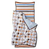Bacati - 100% Cotton Percale Breathable Fabrics Nap Mat with Pillow for Toddler Boys, Measures 50 x 20 x 1.5 Inches, Ideal for Daycare and Preschool, Sleepovers (MOD Sports, Blue/Orange/Brown)