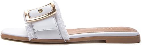 DHG Sandales Douces d'été, Pantoufles à la Mode des Femmes, Sandales Plates Occasionnels, Sandales à Bout Pointu à Talons Plats, Talons Hauts,Blanc,36