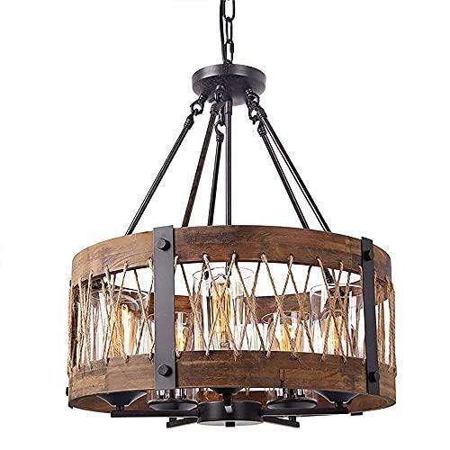 "YAMMY 19.6"" Modern Rustic 5-Light Ceiling Chandelier, Vintage Circle Wood Hemp Rope Drum Cage Shade, Kitchen Island (chandelier)"