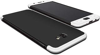 جراب Samsung Galaxy J7 Prime، جراب أنيق فائق النحافة Gkk 364 حماية كاملة - فضي وأسود