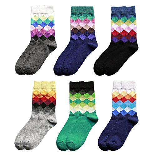 OULII Karo Socken Bunt Baumwollsocken für Männer bequeme Herrensocken Berufssocken 6 Paar