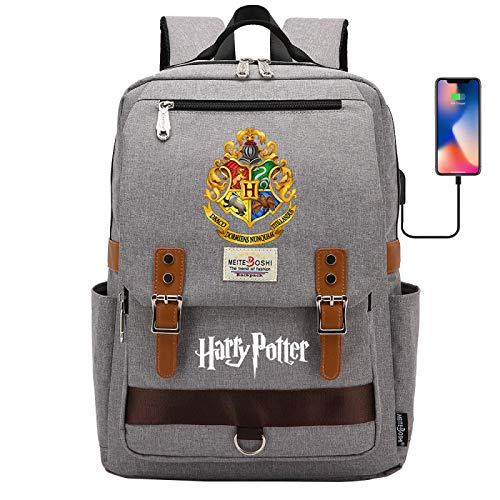DDDWWW Zaino Harry Potter , Borsa da scuola per laptop Hogwarts , Zaino multifunzionale alla moda Zaini casual con porta USB 42CM / 30CM / 16CM Grigio