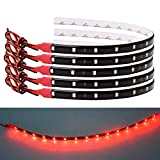 FICBOX LED Strip Light 12V Flexible Waterproof Underglow Lights for Car Motorcycles Golf Cart (Red, 10Pack)