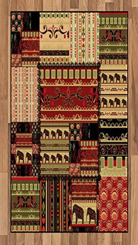 ABAKUHAUS Afrikaanse Tapijt, Patchwork stijl Aziatische, vlak Geweven Vloerkleed voor Woonkamer, Slaapkamer, Eetkamer, 80 x 150 cm, Rood Groen Zwart