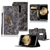 Gift_Source ZTE Axon 7 Case, [Owl Series] Vintage Wallet PU Leather Phone Case Folio Purse Flip Kickstand Cover with ID&Credit Card Pockets for ZTE Axon 7 5.5' [Gray]