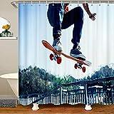 Cortina de ducha de tela para monopatín, para niños, niñas, jóvenes, deportes extremos, accesorios impermeables con ganchos estilo hipster, 178 x 172 cm