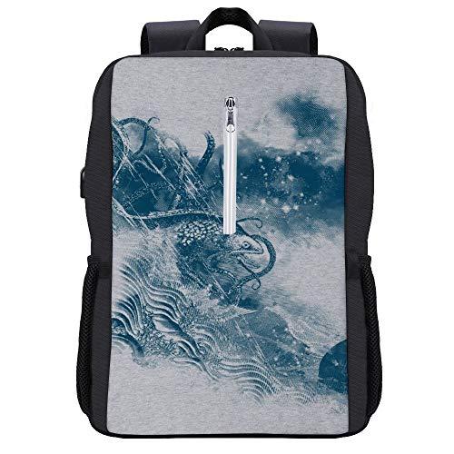 No Escape Sea Monsters Rucksack Daypack Bookbag Laptop Schultasche mit USB-Ladeanschluss
