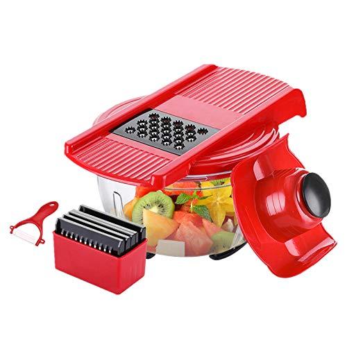 Godmorn Gemüseschneider Reiber Zester Salatschneider Salatschüssel Mandoline Mehrzweck Gemüsehobel mit 6 Klingen, Roter Gemüse Hobel, Edelstahl + ABS + PC