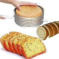 ケーキスライサーモールド、ケーキレベラースライサー、ステンレススチールリング7層ケーキカッター、調整可能なケーキスライサーアクセサリーモールドラウンドベーキング、9〜12インチ