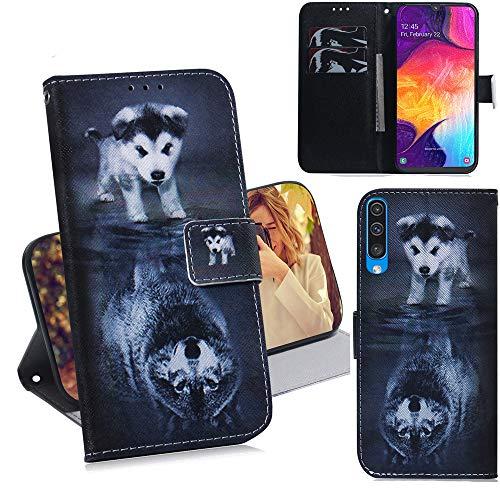 DodoBuy Samsung Galaxy A50 Hülle Flip PU Leder Schutzhülle Handy Tasche Hülle Cover Wallet Standfunktion mit Kartenfächer Magnetverschluss für Samsung Galaxy A50 - H& Wolf
