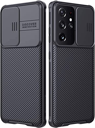 Dayxi Funda Compatible con Samsung Galaxy S21 Ultra 5G Carcasa con Cubierta de la Lente, PC Anti-Arañazos Carcasa Protector Cover Fundas Compatible con Galaxy S21 Ultra 6.8' -Negro