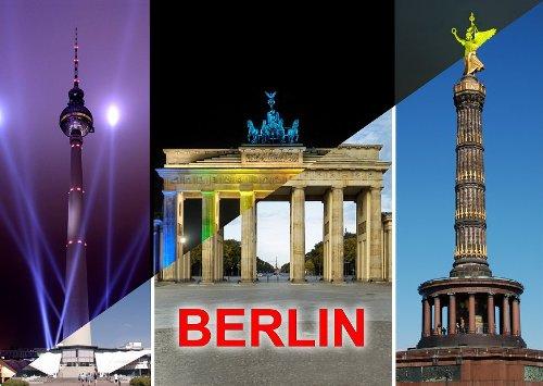 Lentikular-Postkarte mit Wechselbild / Wackelkarte: BERLIN BEI TAG UND NACHT - MIT BRANDENBURGER TOR, BERLINER FERNSEHTURM und SIEGESSÄULE beim FESTIVAL OF LIGHTS