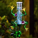 RUILAIYA BOAER Solar Powered Rain Gauge Outdoor,Metal Frog Figurine Stake for Garden, LED...