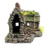 gaibian Resina imitación Madera raíz casa ruinas Acuario Adorno pecera decoración
