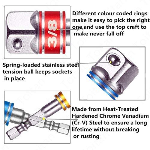 3/8 Driver For Drill,Power Nut Driver Set,1/2 Impact Sockets,Hex Impact Bits,1/2 Driver Socket Set,Right Angle Screwdriver Set Drill Socket+1/4