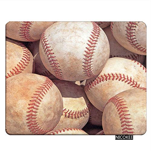 Nicokee Sport Gaming Mousepad Vintage Baseball Sport Game Mouse Pad Rectangle Mouse Mat for Computer Desk Laptop Office 9.5 X 7.9 Inch Non-Slip Rubber