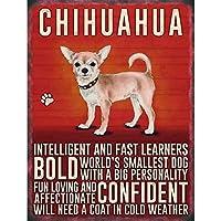 チワワ犬 金属板ブリキ看板警告サイン注意サイン表示パネル情報サイン金属安全サイン