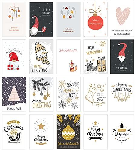 Edition Seidel Set di 20 biglietti di Natale esclusivi con busta. Doppio biglietto pieghevole con busta